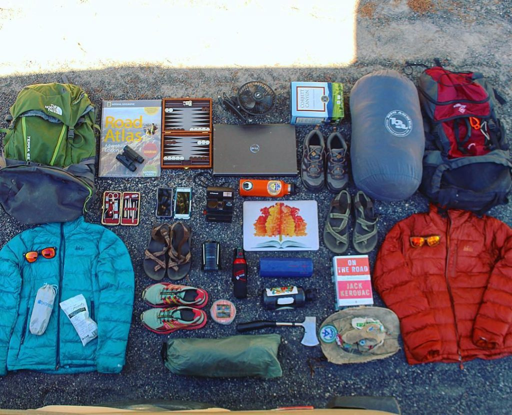Overhead gear layout of digital nomad gear
