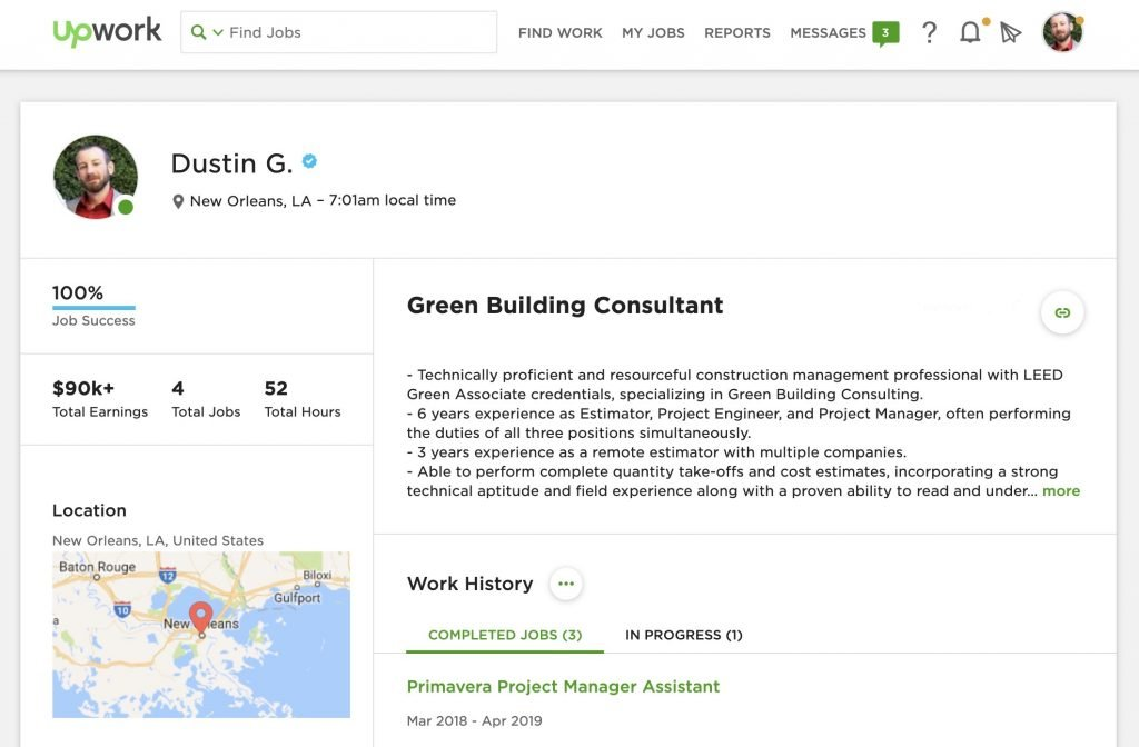 Screenshot of Dustin's profile on upwork.com
